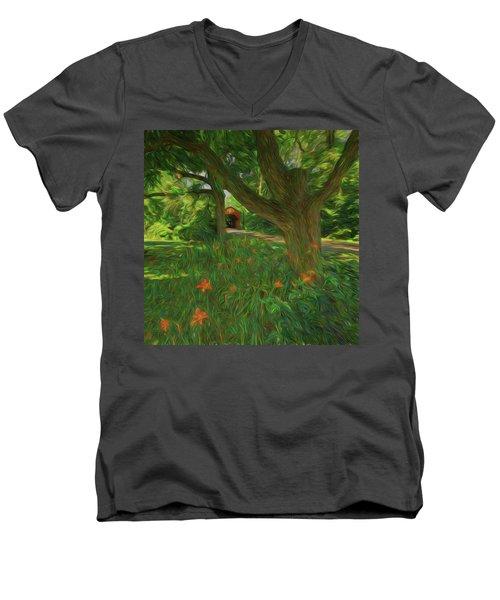 Men's V-Neck T-Shirt featuring the photograph Orange Flowers by Lewis Mann