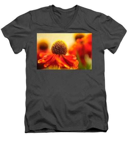 Men's V-Neck T-Shirt featuring the photograph Orange Glow. Rudbeckia Macro by Jenny Rainbow
