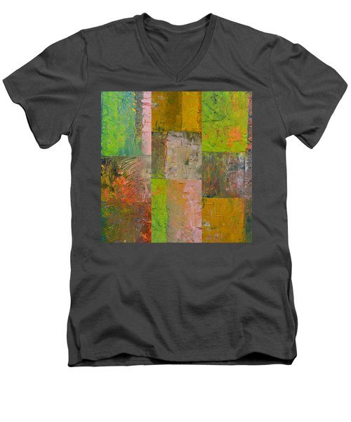 Men's V-Neck T-Shirt featuring the painting Orange Green And Grey by Michelle Calkins