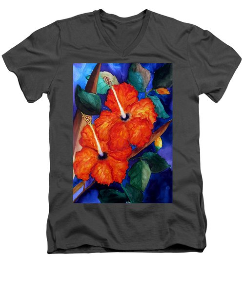 Orange Hibiscus Men's V-Neck T-Shirt by Lil Taylor