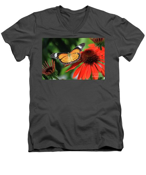 Orange Lacewing Men's V-Neck T-Shirt