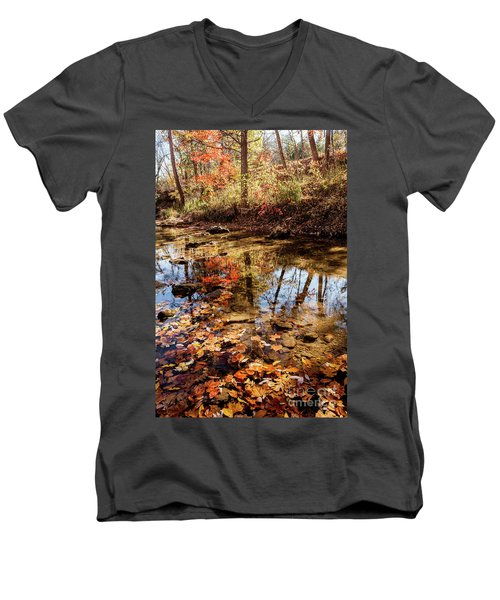 Orange Leaves Men's V-Neck T-Shirt by Iris Greenwell