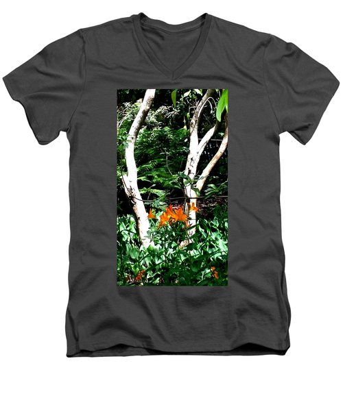 Orange Lilies Men's V-Neck T-Shirt