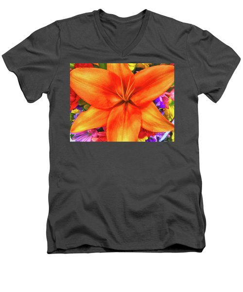 Men's V-Neck T-Shirt featuring the painting Orange Lilly Art by Deborah Benoit