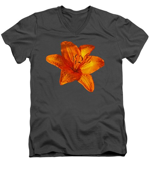 Orange Lily In Sunshine After The Rain Men's V-Neck T-Shirt by Gill Billington