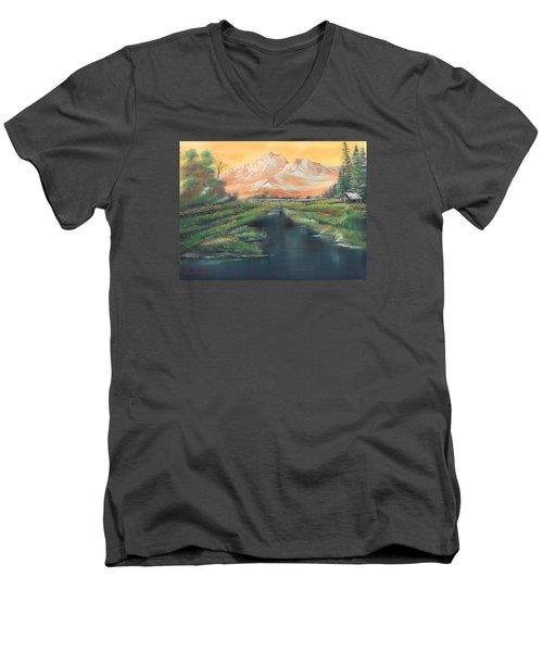 Orange Mountain Men's V-Neck T-Shirt by Remegio Onia