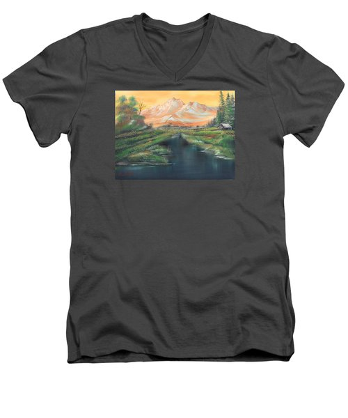 Orange Mountain Men's V-Neck T-Shirt