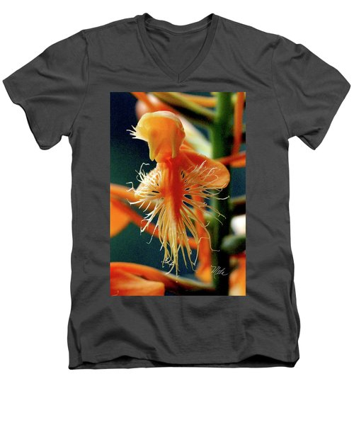 Fringed Orange Orchid Men's V-Neck T-Shirt