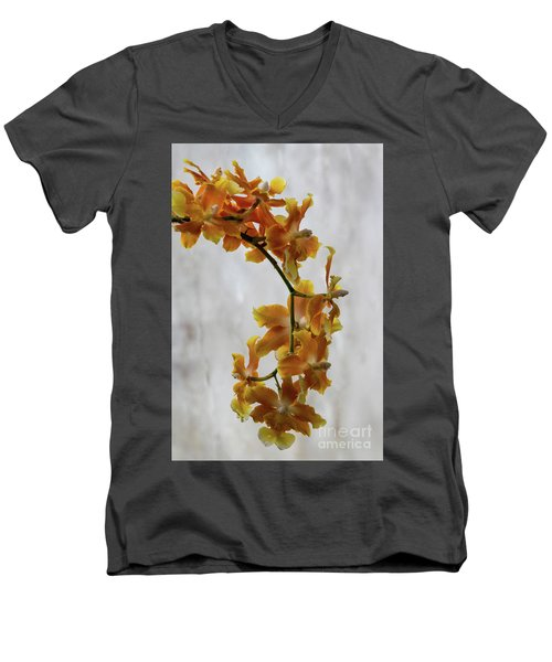 Orange Orchids Men's V-Neck T-Shirt by Darleen Stry