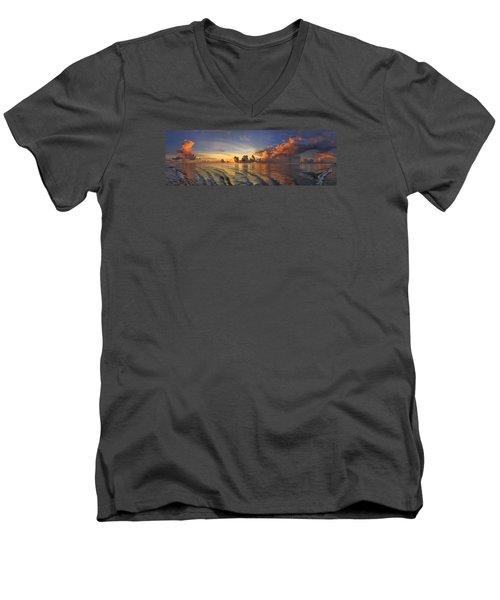 Orange Panorama Men's V-Neck T-Shirt