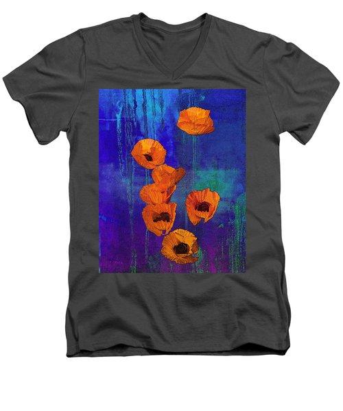 Orange Poppies Men's V-Neck T-Shirt by I'ina Van Lawick