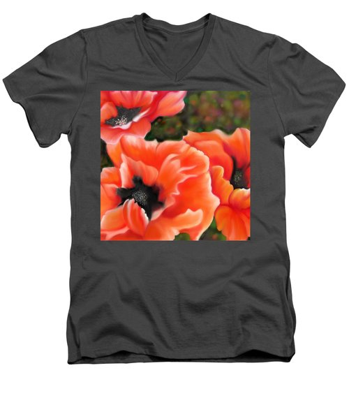 Orange Poppies Men's V-Neck T-Shirt