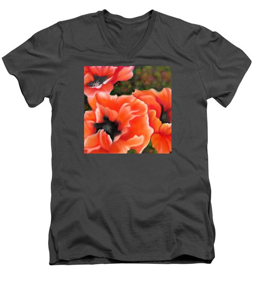 Orange Poppies Men's V-Neck T-Shirt