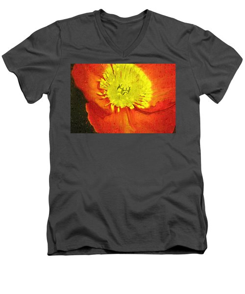Men's V-Neck T-Shirt featuring the photograph Orange Poppy by Donna Bentley