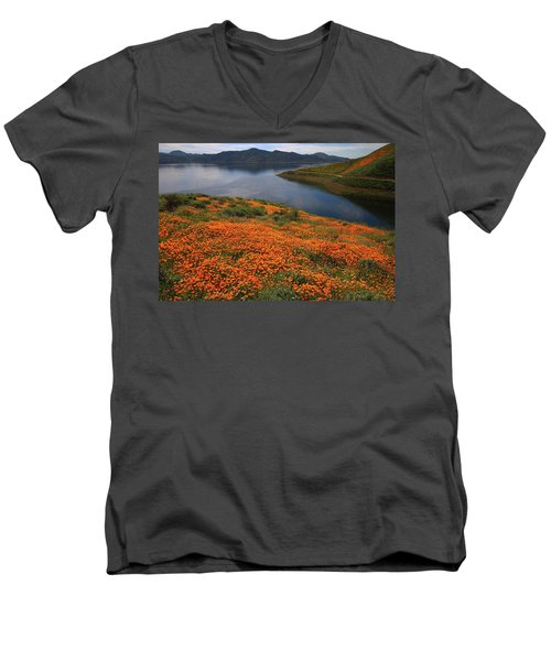 Orange Poppy Fields At Diamond Lake In California Men's V-Neck T-Shirt by Jetson Nguyen