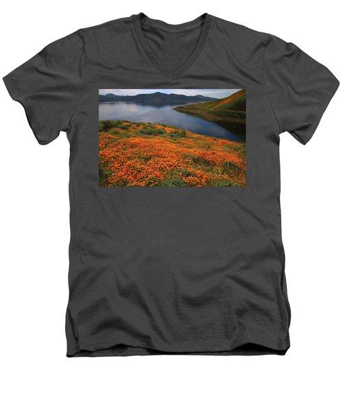 Orange Poppy Fields At Diamond Lake In California Men's V-Neck T-Shirt