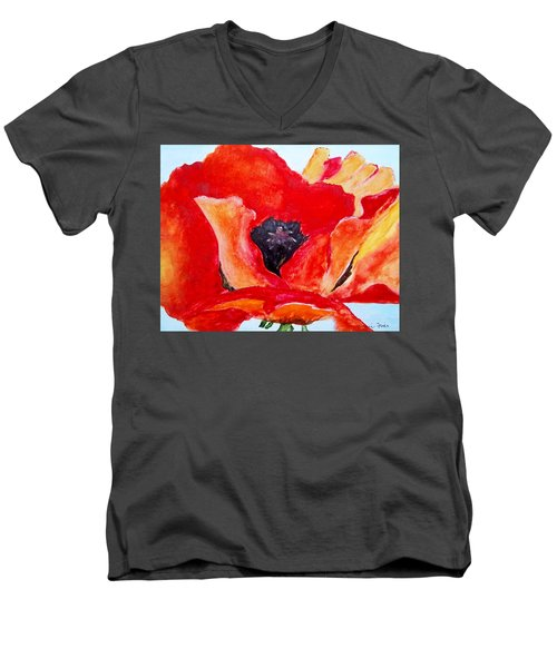 Orange Poppy Men's V-Neck T-Shirt by Jamie Frier
