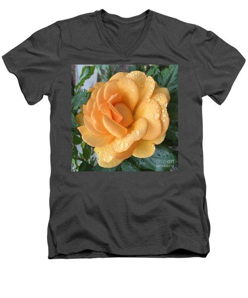 Orange Rain Drops Men's V-Neck T-Shirt