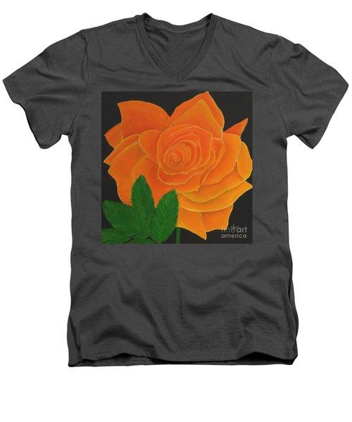 Orange Rose Men's V-Neck T-Shirt
