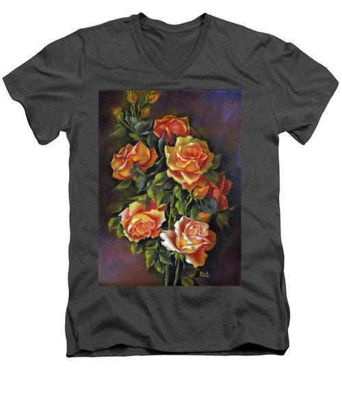 Orange Roses Men's V-Neck T-Shirt by Katia Aho