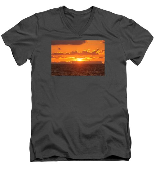 Men's V-Neck T-Shirt featuring the photograph Orange Skies At Dawn by Robert Banach