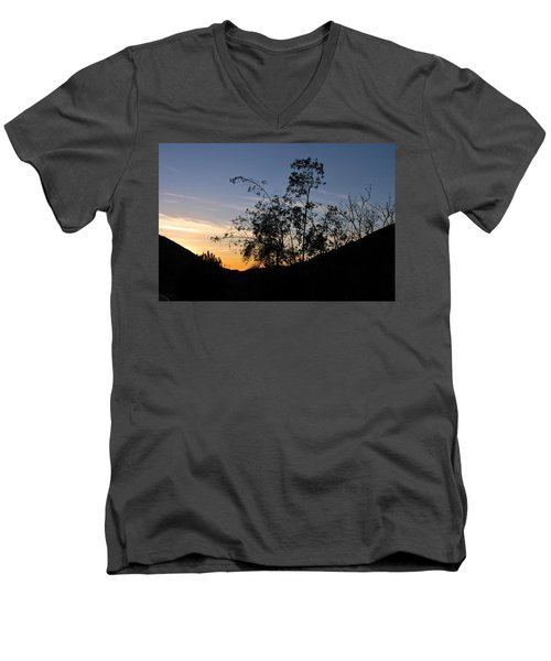 Orange Sky Nature Silhouette Men's V-Neck T-Shirt