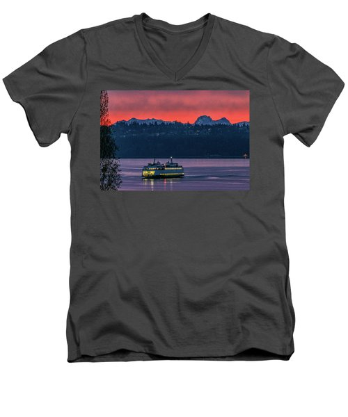 Orange Sky With Purple Sea Men's V-Neck T-Shirt