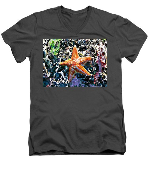 Men's V-Neck T-Shirt featuring the photograph Orange Starfish by 'REA' Gallery