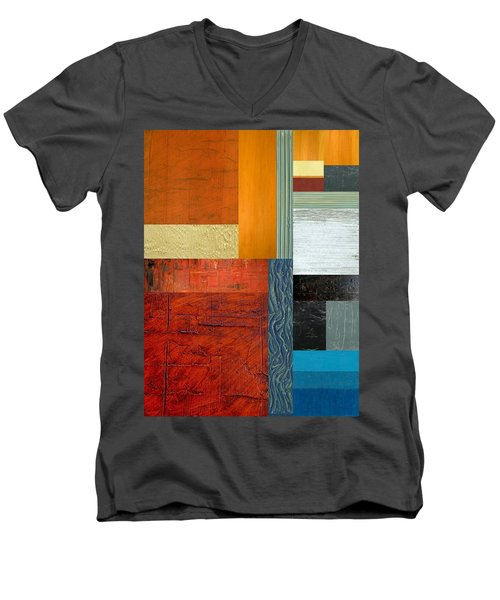 Men's V-Neck T-Shirt featuring the painting Orange Study With Compliments 1.0 by Michelle Calkins
