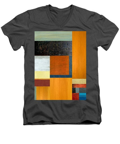 Men's V-Neck T-Shirt featuring the painting Orange Study With Compliments 2.0 by Michelle Calkins