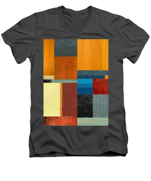 Men's V-Neck T-Shirt featuring the painting Orange Study With Compliments 3.0 by Michelle Calkins