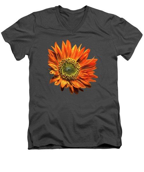 Orange Sunflower Men's V-Neck T-Shirt by Christina Rollo