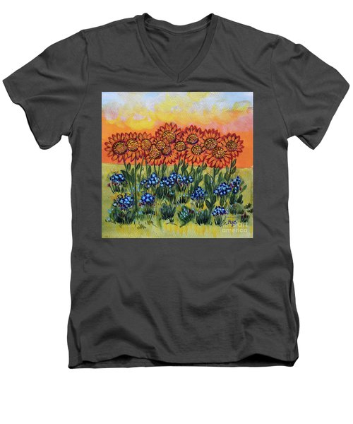 Orange Sunset Flowers Men's V-Neck T-Shirt