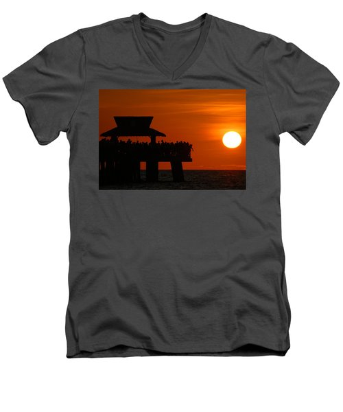 Orange Sunset In Naples Men's V-Neck T-Shirt