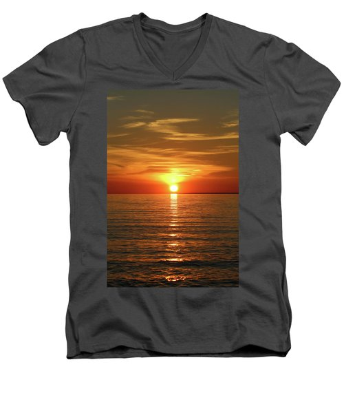 Men's V-Neck T-Shirt featuring the photograph Orange Sunset Lake Superior by Paula Brown