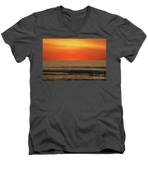 Orange Sunset On The Jersey Shore Men's V-Neck T-Shirt