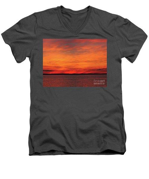 Orange Sunset On The New Jersey Shore Men's V-Neck T-Shirt