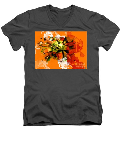 Orange Tropic Men's V-Neck T-Shirt by Deborah Nakano