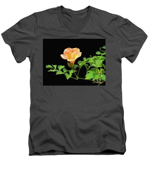 Orange Trumpet Flower Men's V-Neck T-Shirt by Susan Lafleur