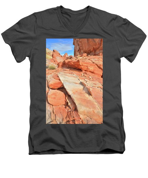 Orange Valley In Valley Of Fire Men's V-Neck T-Shirt by Ray Mathis