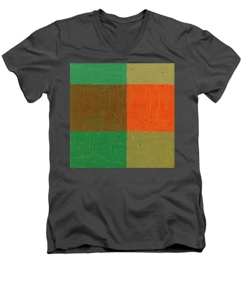 Orange With Brown And Teal Men's V-Neck T-Shirt by Michelle Calkins