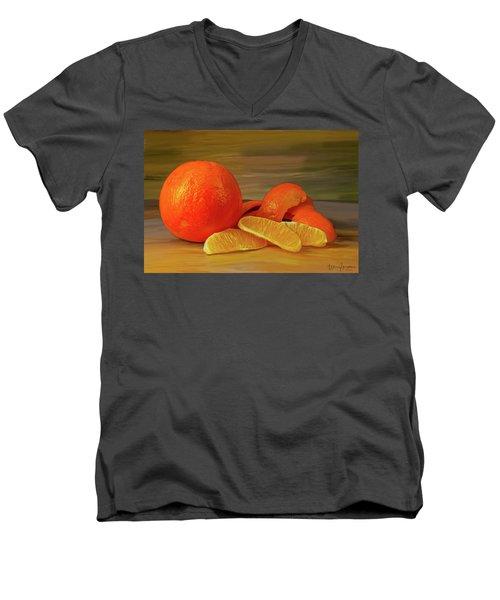 Oranges 01 Men's V-Neck T-Shirt by Wally Hampton