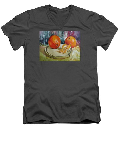 Men's V-Neck T-Shirt featuring the painting Oranges by Elena Oleniuc