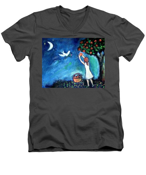 Men's V-Neck T-Shirt featuring the painting Oranges Song by Winsome Gunning
