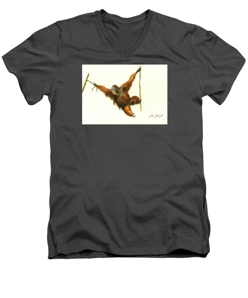 Orangutan Men's V-Neck T-Shirt by Juan Bosco