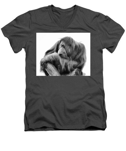 Orangutan Men's V-Neck T-Shirt by Lana Trussell