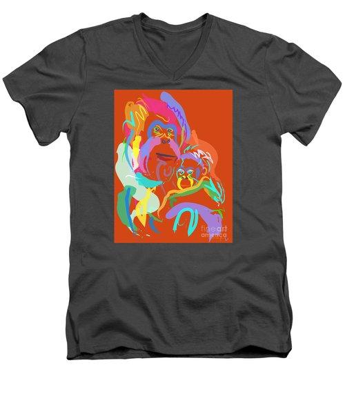 Orangutan Mom And Baby Men's V-Neck T-Shirt by Go Van Kampen