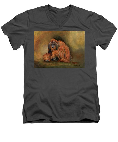 Orangutan Monkey Men's V-Neck T-Shirt