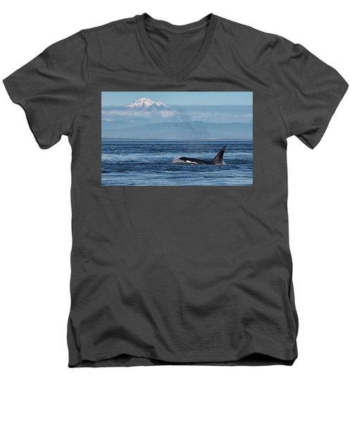 Orca Male With Mt Baker Men's V-Neck T-Shirt