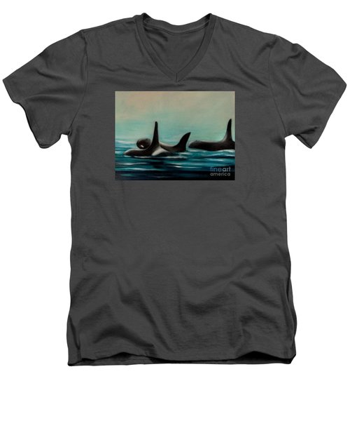 Men's V-Neck T-Shirt featuring the painting Orca's by Annemeet Hasidi- van der Leij